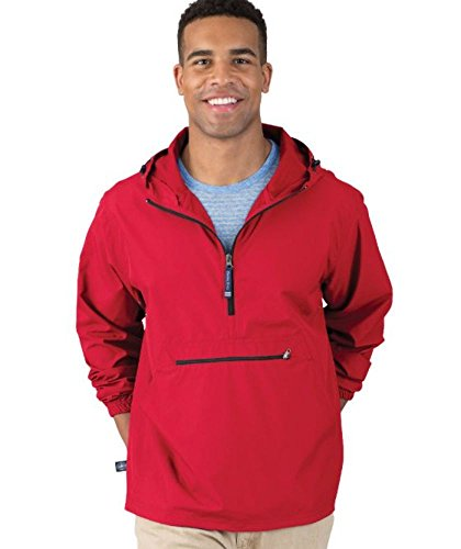 Charles River Apparel Pack-N-Go Wind & Water-Resistant Pullover (Reg/Ext Sizes), Red, XS