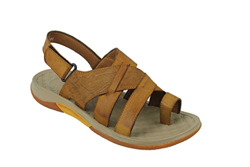 Mens Soft Real Leather Gladiator Sandals Adjustable Strap Toe Grip Walking Slippers Black Brown Brown uRR4UjS