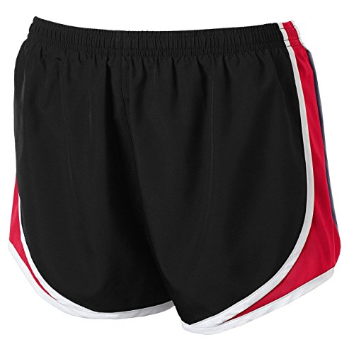 Clothe Co. Ladies Moisture Wicking Sport Running Shorts, Black/True Red/White, XS by Clothe Co. (Image #1)