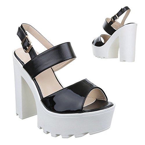 Ital Sandalias Design negro Mujer Sandalias Negro xqn6OFqw0P