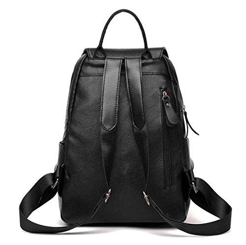 SHFANG Damen Doppel Schulter Tasche Handtasche PU Reißverschluss Freizeit Shopping Anti-Diebstahl Schwarz 23 * 12 * 33cm