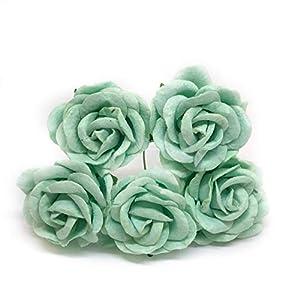 "1.5"" Mint Green Mulberry Paper Flowers Mint Paper Flowers Mint Paper Roses DIY Wedding Decor DIY Paper Bouquet Artificial Flowers Wedding Crafts Home Decorations, 12 Pieces 29"