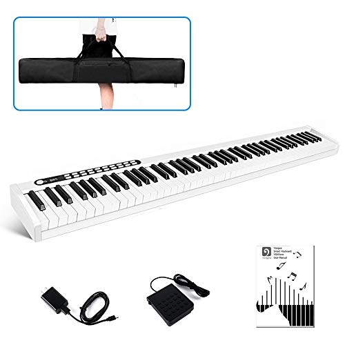 Vangoa VGD881 Piano Keyboard 88 Keys, Portable Touch Sensitive Electronic Keyboard Piano Rechargeable with Wireless Connection, Padded Handbag, Power Supply and Sustain Pedal, White