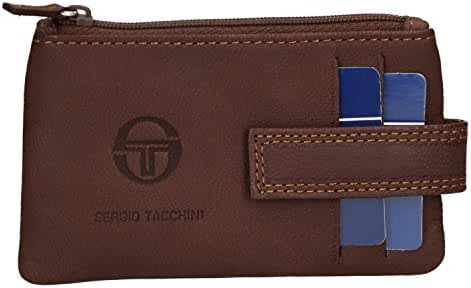 Coin purse keychain in sachet two rings SERGIO TACCHINI brown real leather VA667
