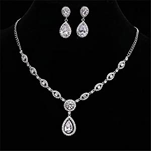 Jewelry Set for Women AAA Cubic Zirconia Women's Party Jewelry Set Fashion Earrings Pendant Necklace Silver Plated Earrings Necklace Set (Color : A)