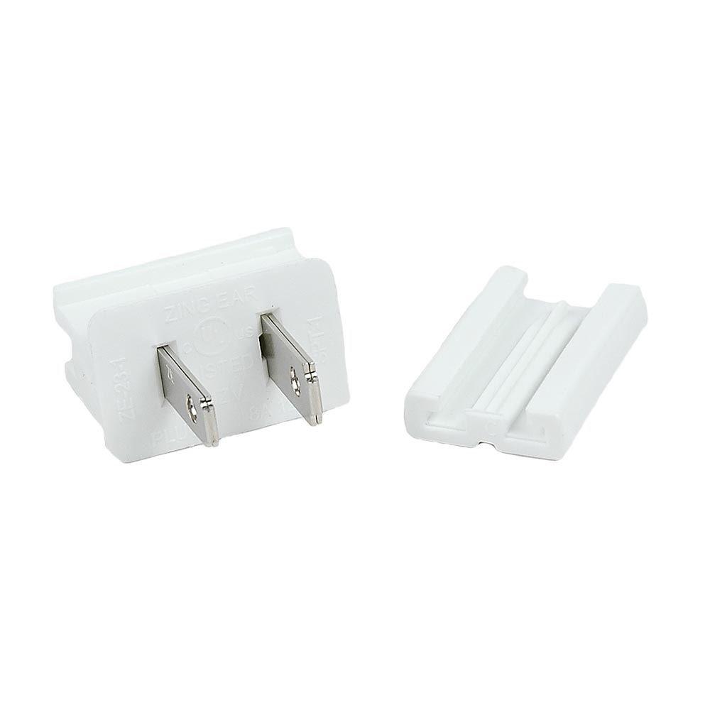 Novelty Lights SPT-1 Male Plug, Snap On Vampire Plugs, White, Polarized, 8 AMP, 1 Pack