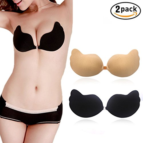 h Up Breast Lift Padded Silicone Invisible Strapless Sticky Bra 2 Pack Cup A B C D (Beige Black) (Full Figure Push Up Bras)