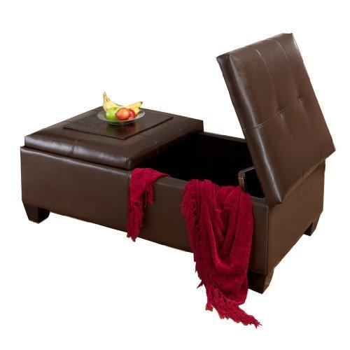 Alpine Brown Leather Storage Ottoman