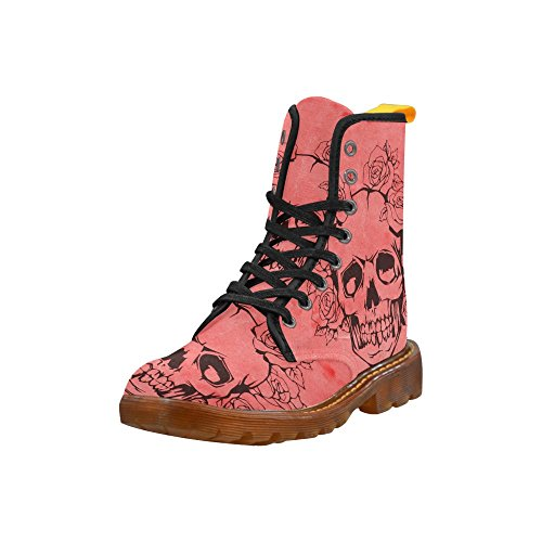 Leinterest Skull With Roses Perzik Martin Boots Fashion Shoes Voor Dames