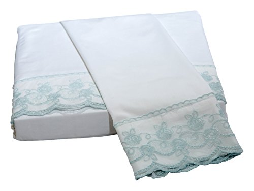 Belle Epoque Traditional Capri LACE Floral Sheet Set, King, White/Fr.Blue
