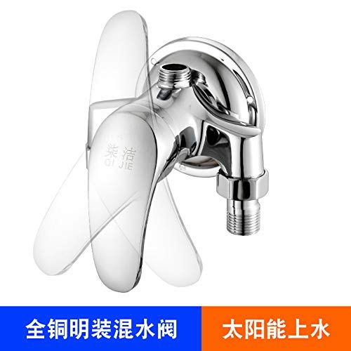 A SEBAS HOME Mixing valve shower mixing valve shower wall mounted mixing valve switch solar water heater tube faucet shower set, all copper wall mounted faucet H (color   E)