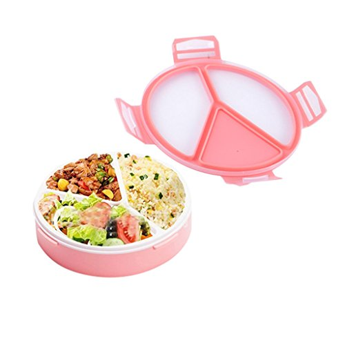 Round Lunch Box - OldPAPA Bento Lunch Box, Meal Prep Containers, Reusable 500ml Round 3-Compartment Plastic Divided Food Storage Container Boxes for Kids & Adults,Microwave and Freezer Safe