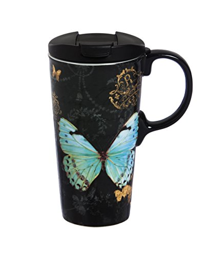"Cypress Home Metallic Butterfly 17 oz Boxed Ceramic Perfect Travel Coffee Mug or Tea Cup with Lid - 3""W x 5.25"
