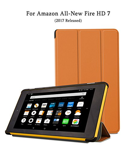 NUYEA Case For Fire 7 (2017 Released) - Ultra Slim Lightweight PU Leather Folio Case with Smart Auto Wake/Sleep for Fire HD 7 (Orange)