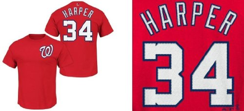 Majestic Bryce Harper Washington Nationals Red Youth Jersey Name and Number T-shirt Medium 10-12