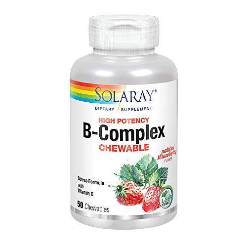 (Solaray® Vitamin B-Complex 250mg Chewable | Natural Strawberry Flavor | Healthy Hair, Skin, Immune Function & Metabolism Support | Lab Verified | 50ct)