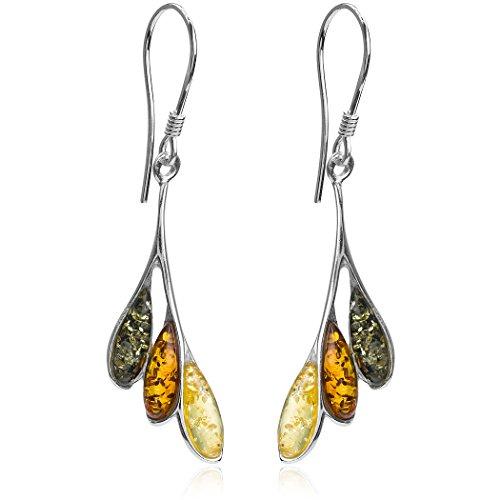 Multicolor Amber Sterling Silver Branch Dangling Fishhook Earrings ()