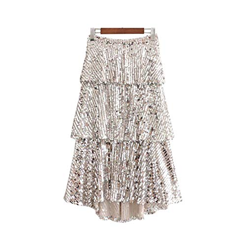 PHKYT Women Sequined Shiny Party midi Skirt Side Zipper Female Casual Cupcake A line mid Calf Skirts ()