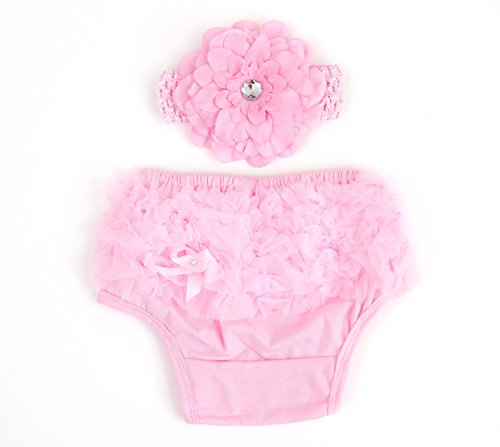 Ema Jane (Pink with Hair Accesory) Ruffled Woven Baby Diaper Bloomer Covers (Choose From Many Colors or Styles) (3 months to 18 months, Pink with Hair Accessory)