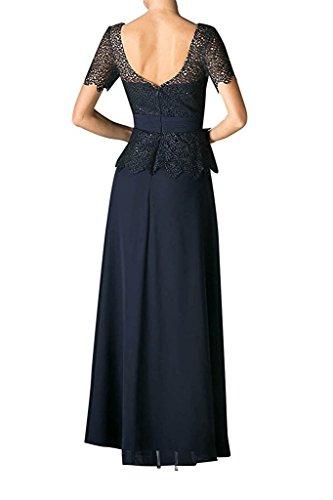 Dunkel Braut Rock Brautmutterkleider Abendkleider mia Chiffon Kurzarm Tuerkis Partykleider A Ballkleider Spitze La Linie mit Lang q5pan56