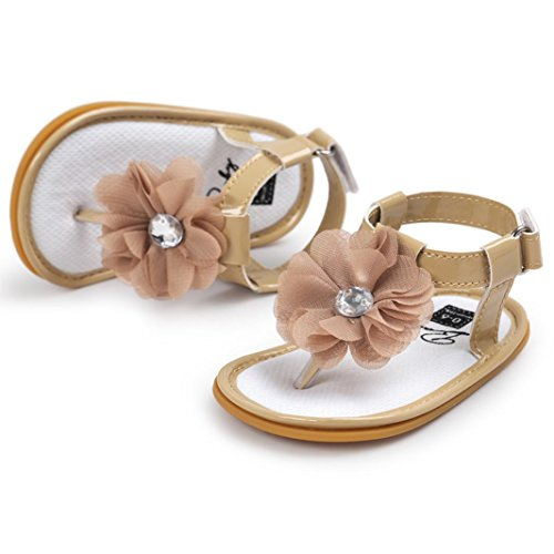 Tefamore Zapatos Sandalias Bebé de la flor de la perla Princesa del Primeras caminantes Muchachas Niños marrón