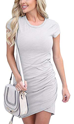 Summer Tshirt Dresses for Women Casual Ruched Irregular Bodycon Short Mini Dress Small Gray