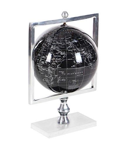 (Deco 79 57369 Polished Aluminum, Marble and PVC Decorative Globe, 15