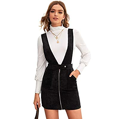 WDIRARA Women's Dual Pocket Corduroy Suspender Dresses Pinafore Overall Dress at Women's Clothing store