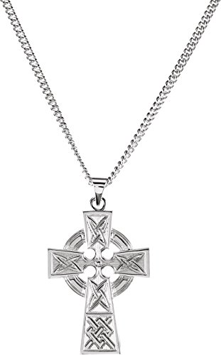 Celtic Halo Cross Sterling Silver Necklace, 24