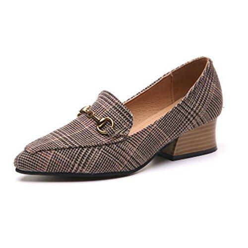 Plaid Mocassins Grid Pointue Boucle Toe on Robe Pompe Chaussures Femmes JITIAN Bloc Slip Mocassins Pompes Talon Classic naXOz