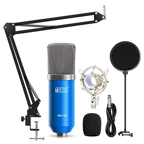 TONOR Professional Studio Condenser Microphone Computer PC Microphone Kit with 3.5mm XLR/Pop Filter/Scissor Arm Stand/Shock Mount for Professional Studio Recording Podcasting Broadcasting, Blue (Best Computer For Music Studio)