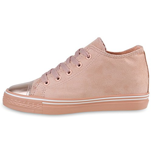 Stiefelparadies Damen Sneaker Wedges mit Keilabsatz Flandell Rosa Metallic