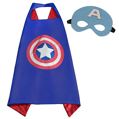 Captain America Superhero Costumes Satin Cape with Felt Mask for Kids Boys and Girls ()