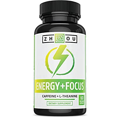 Caffeine with L-Theanine for Smooth Energy & Focus - Focused Energy for Your Mind & Body - No Crash ? No Jitters - #1 Nootropic Stack for Cognitive Performance - Veggie Capsules