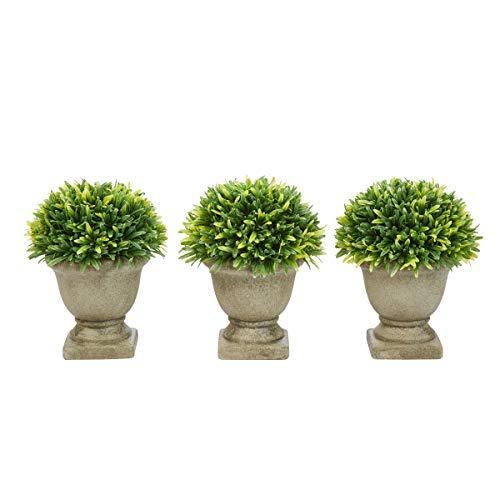 (Pure Garden Artificial Podocarpus Grass Plant in Concrete Round Set of 3, 7.5