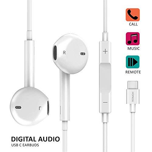 - C Earbuds USB c Earphones C-Type Headphones Hopkog C Headphones USB-C Hi-Fi Digital Stereo Compatible with iPad pro 2018 Galaxy A8S Pixel 2/2XL 3/3XL Noise-Cancelling Headphones