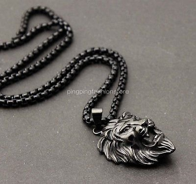 Heavy New 316L Stainless Steel Jewelry Boy&Mens Lion Pendant Necklace Black Tone
