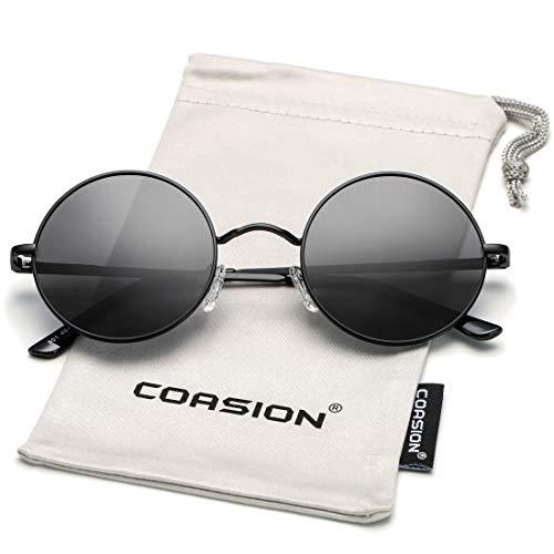 COASION Retro Small Round Polarized Sunglasses John Lennon Style Circle UV400 Sun Glasses (Black Frame/Grey ()