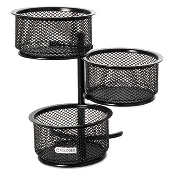 - ELDON OFFICE PRODUCTS 3 Tier Wire Mesh Swivel Tower Paper Clip Holder, 3 3/4 X 6 1/2 X 6, Black