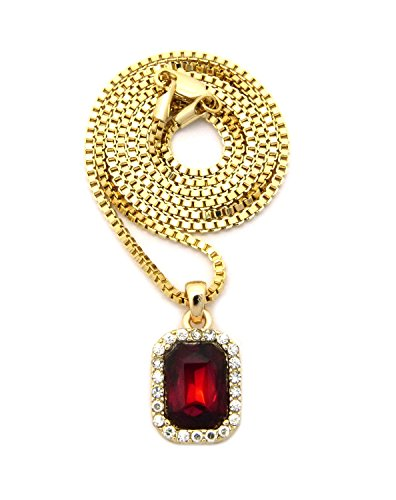 Gold Tone Jewelry Box - Small Gemstone Pendant with Gold-Tone 2mm Box Chain Necklace, Ruby Red, 24