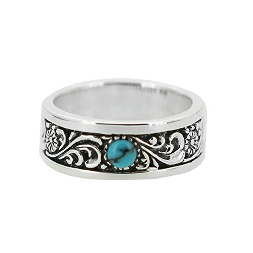 Bishilin Silver Plated Ring for Men Oval Turquoise with Totem Partner Rings Silver Size 11