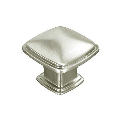 "1 Pack Satin Nickel or Brushed Nickel 1-1/4"" (31mm) Square Kitchen Cabinet Drawer Hardware Pull Knobs 81091-31"