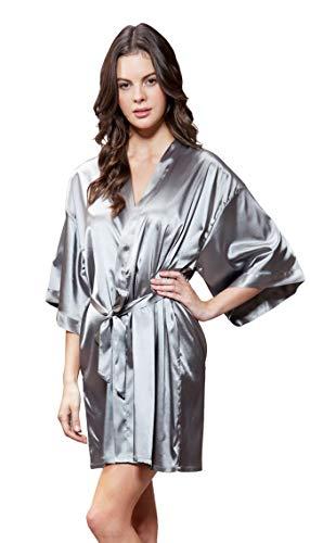(Turquaz Linen Satin Kimono Bridesmaids Robe (Large, Classic Gray))