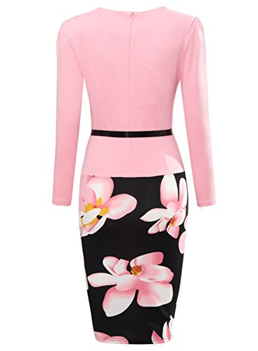 Oxiuly Women's Formal Patchwork Stretch Floral Print Business Work Bodycon Pencil Dress OX166 (M 6, Pink Long)