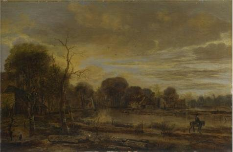 Oil Painting 'Aert Van Der Neer - A River Landscape With A Village,probably About 1645' Printing On High Quality Polyster Canvas , 18x28 Inch / 46x70 Cm ,the Best Bathroom Gallery Art And Home Artwork And Gifts Is This Best Price Art Decorative Canvas Prints