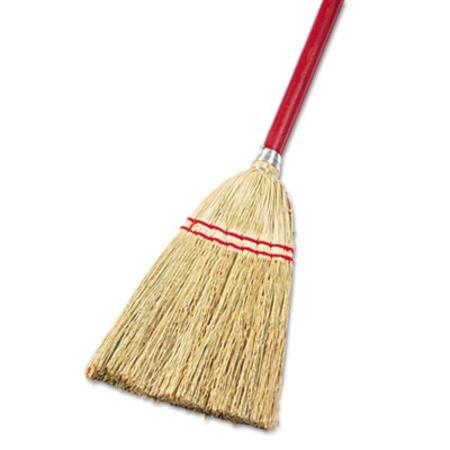 UNISAN Lobby/Toy Broom, Corn Fiber Bristles, 39'' Wood Handle, Red/Yellow - 12 brooms.