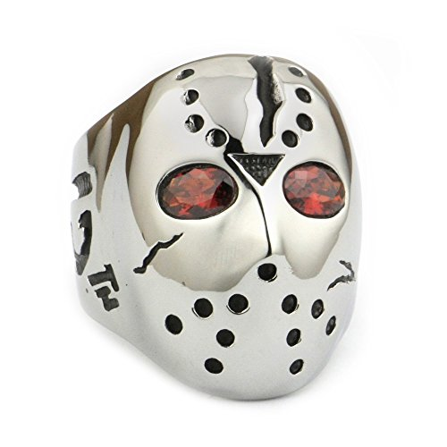 LINSION 316L Stainless Steel Halloween Jason Mask Hockey Red CZ Eyes Mens Biker Ring 3F301 (7)