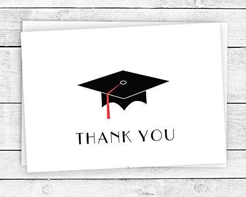 - Graduation Cap with Colored Tassel Thank You Cards - 24 Cards & Envelopes (Red)