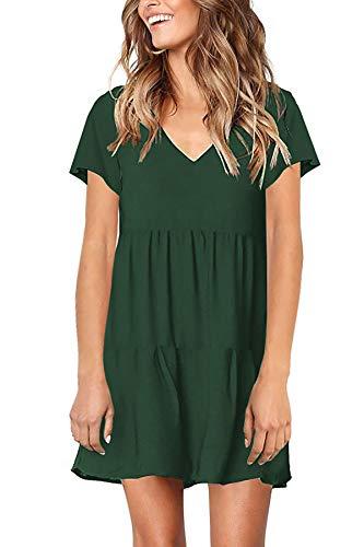 PinUp Angel Green Women's Short Sleeve Tunic Dress V Neck Loose Flowy Swing Shift Dresses