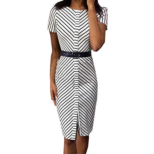 Women Vintage Long Dresses,YEZIJIN Women Stripe Pritn O-Neck Midi Dress Short Sleeve Bodycon Dress -
